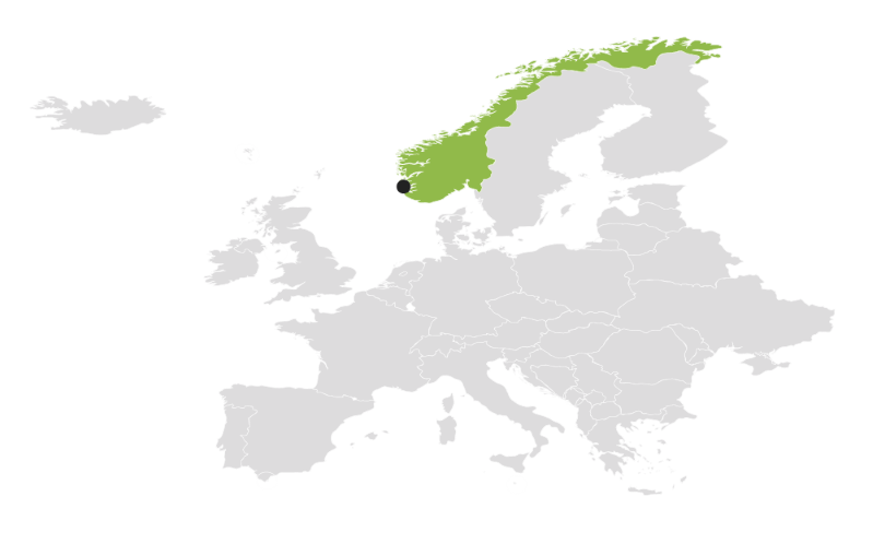 A map of Europe and the Nordic countries in which Norway and the city Stavanger is marked.