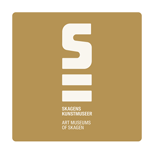 Logo of Skagen Art Museum's with the name in white on a gold background.