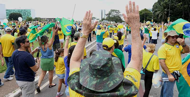Picture from a demonstration in Brazil. People are protesting against President Dilma Rousseff