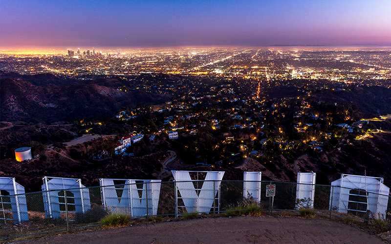 View over Hollywood and Los Angeles, seen from the famous Hollywood sign.