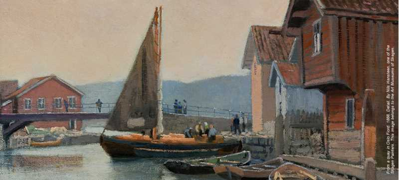 Painting with boats and houses