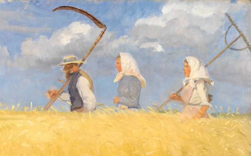 A painting of a man and two women waling in a field, ready for harvesting.