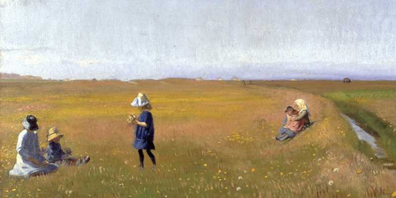 A Skagen painting showing children picking flowers in a meadow.