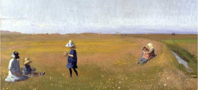 painting of children in a field picking flowers