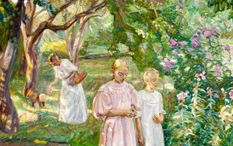 Painting showing woman and children in a garden.